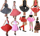 LADIES GIRLS ROCK AND ROLL SKIRT & SCARF POLKA DOT FANCY DRESS PARTY COSTUME