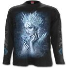Spiral ICE QUEEN Mens Long Sleeve T-Shirt, Goth Fantasy Tattoo Roses Mystical