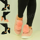 NEW WOMENS LADIES POM POMS LACE TRAINERS SNEAKERS SKATER FLAT SHOES SIZE UK 3-8