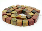 Natural Picasso Jasper Gemstone Square Cube Loose  Spacer Beads 15.5'' 8mm 10mm