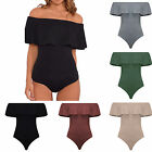 Sexy Women Frill Off-Shoulder Bodysuit Jumpsuit Romper Stretch Party Leotard Top