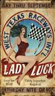 LADY LUCK ~ CAR RACES ~ Handcrafted Custom Made Wood Sign w/ Your Name ~ by PLD