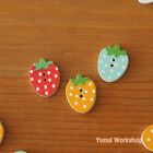 Mini Strawberry Wood Buttons Blue Red Yellow Cute Spring Fruit Sewing DIY Craft