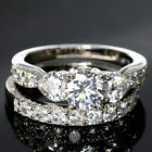 WEDDING RINGS 2 piece Engagement SET | CZ 925 Sterling Silver Size 9