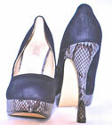 LADIES COURT SHOES SUEDE, SNAKE-PRINT HEEL STILETTO {APRICOT AND BLACK COLOURS}