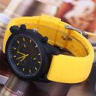 Hot Cool Men's Luxury Black Dial Sports Watch Silicone Strap Wristwatch 4 Colors