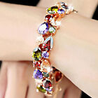 Luxury Women's Gold Plated Wedding Jewelry Colorful Zircon Stone Bangle Bracelet
