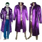 Suicide Squad Joker Jared Leto Trench Coat Outfit Suit Halloween Cosplay Costume