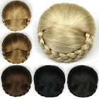 Women Braided Clip In Hair Bun Synthetic Chignon Donut Roller Hairpieces DH103