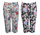 NEW FILO Floral Stretch Capri Pants with Pockets SIZES 8 10 12 14 16 18
