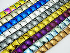 Natural Non-Magnetic Hematite Gemstone Flat Square Beads Metallic Colors 16''