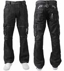 MENS BRAND NEW CARGO COMBAT STRAIGHT LEG JEANS IN BLACK COLOUR ALL SIZES