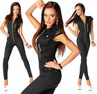 Sexy Womens Black Denim Jeans Jumpsuit Overall With Zippers E 725
