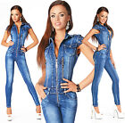 Sexy Womens Blue Denim Jeans Jumpsuit Overall With Zippers C 724