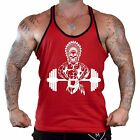 Men's Indian Dumbbell Red Stringer Tank Top Workout Fitness Native Fit Gym Tee