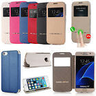 Flip PU Leather Cover Window View Stand Wallet Case For Samsung Galaxy Luxury