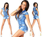 Sexy Womens Denim Light Blue Jeans Hot Pants Playsuit Jumpsuit Overall R 593
