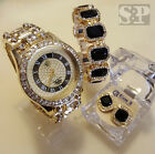 MEN HIP HOP ICED OUT GOLD PT BIG CZ WATCH & ONYX EARRNGS & BRACELET COMBO SET  image