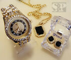 MEN HIP HOP ICED OUT GOLD RICK ROSS WATCH & ONYX NECKLACE & EARRINGS COMBO SET  image