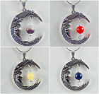 SILVER MOON FAIRY PENDANT WITH CHAKRA GEMSTONE OF YOUR CHOICE - HEALING CRYSTALS
