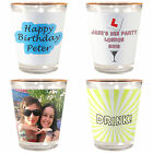 Personalised Wedding Hen Stag Do Photo & Text Gold/ White Shot Glass