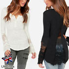 Ladies Lace Long Sleeve T Shirt Blouse Embroidery Sexy Women Floral Hollow Tops