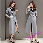 Fashion Womens Casual Belts Long Trench Coat Lapel Slim Fit Outdoor Peacoat Chic