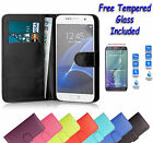Wallet Flip Leather Book Case Cover For Samsung Galaxy Note 4 + Tempered Glass