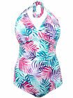 Ladies NEW Neckermann PALM Print Halter neck SWIMSUIT Plus Size
