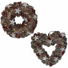 Christmas Decoration Berry & Cone Natural Look Wreath - Round or Heart