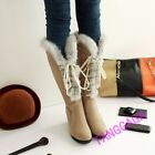 Winter Warm Womens Casual Lace Up Wedge Faux Suede Knee High Boots Fur Lined New