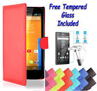 Wallet Flip PU Leather Book Cover Case For Sony Xperia Z + Free Tempered Glass
