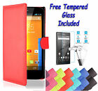 Wallet Flip Leather Book Case Cover For Sony Xperia Z5 Compact + Tempered Glass