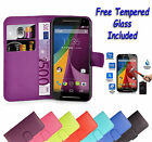 Wallet Flip Book Leather Case Cover For Motorola Moto G3 + Free Tempered Glass