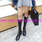 Punk Women Zipper Mid Calf Boots Chunky Mid Heel Round Toe White/Black Shoes