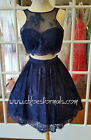 SHORT SLEEVELESS 2 PIECE NAVY LACE HOMECOMING PARTY DRESS SIZE 4 NWT