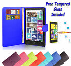Wallet Flip Book Leather Cover Case Holder For Nokia Lumia 640 + Tempered Glass