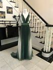 In Stock Size 8 Elegant Green White Long  Prom / Wedding / Evening Gown