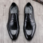 Men's Cow Leather Shoes Dress Formal Brogues Lace ups Black Brown New  Size 5~11