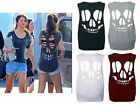 New Ladies Halloween Skull Back Laser Cut Scoop Sleeveless Open Back T Shirt/Top