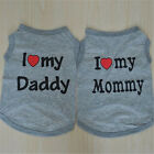 Cat Dog Tee – Grey I Love My Daddy Mommy – Pet Clothes Wear