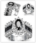 women fashion jewelry  925 Silver black Sapphire wedding ring size 6-10