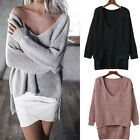 Knitwear Deep V-Neck Long Sleeve Loose Hi-Lo Pullover Knitted Sweater Jumper