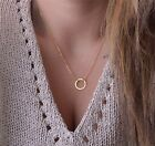 Dainty Circle Necklace Chain Pendant Jewelry For Party Wedding Womens Necklace
