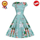 Sexy Women Floral Vintage 1950s Hepburn Style Rockabilly Party Swing Dress