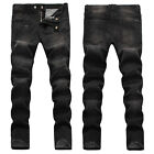New Mens France Style Stretch Moto Pants Black Slim *Biker JEANS Trousers B1477T