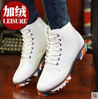 Mens PU Leather Desert Ankle Boots Camouflage Sole High Top Round Toe Shoes N41