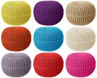 100% Cotton Round Foot Stool Braided Moroccan Cushion Handmade Knitted Pouffe