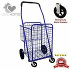 Double Basket Shopping Cart Laundry Metal Caster front Wheels Folding Grocery
