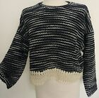 PRIMARK Atmosphere NAVY BLACK Lace Trim Cropped Knitted 90's Jumper Top £12